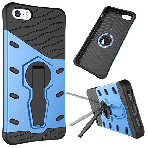 Coque Iphone5/Iphone 5S/Iphone SE Coque Housse de Protection Anti-choc Matériaux Hybrides en Silicone Souple et PC Dur pour Iphone5/Iphone 5S/Iphone SE Blue