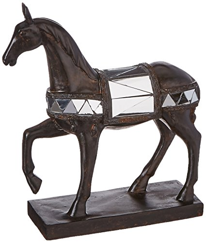 Glass Mosaic Horse Statue Figure Figurine Unique Bronze D13157