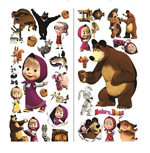 Masha et l'ours Stickers muraux Art Mural Stickers Enfants Chambre à Coucher Sticker Mural garçons Filles Taille : 75 cm x 35 cm 2 Feuilles