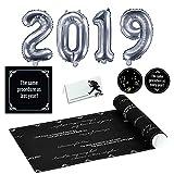 44 Teile Silvester-Dekorations-Set Dinner for One - 44 Teile - Party-Deko Set Neujahr / Motto-Party / Servietten / Luft-Ballon, Tisch-Karten / Tisch-Läufer / Servietten