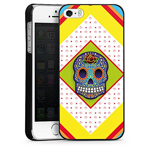 Apple iPhone 5s Housse Étui Protection Coque Crâne couleurs Abstrait CasDur noir