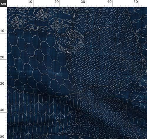 Sashiko-designs (Sashiko, Japanisch, Traditionell, Stickerei, Quilt, Origami Stoffe - Individuell Bedruckt von Spoonflower - Design von Bonnie Phantasm Gedruckt auf Leinen Baumwoll Canvas)