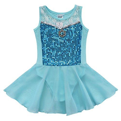 iEFiEL Mädchen Kinder Ballettanzug-Kleid Gymnastikanzug Turnanzug Ballett Trikot Tanz Kleidung (Blau, 116)