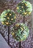 Solar Buchsbaumkugeln 3er Set mit insgesamt 27 LEDs - Farbe: warmweiß