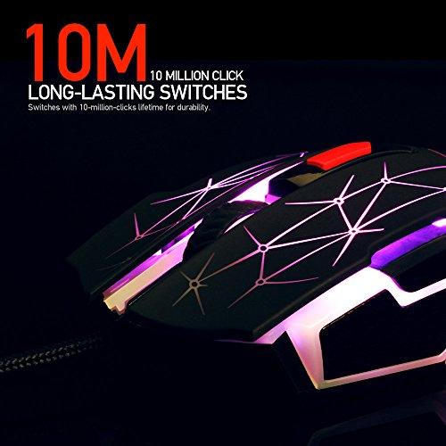 FANTECH X7 Blast Gaming Maus 4800 dpi LED beleuchtet Wechselfarben 6 Tasten programmierbar Macro-fähig Hohe Präzision ergonomisches Design USB cabled schwarz Belegungs-sensor-licht
