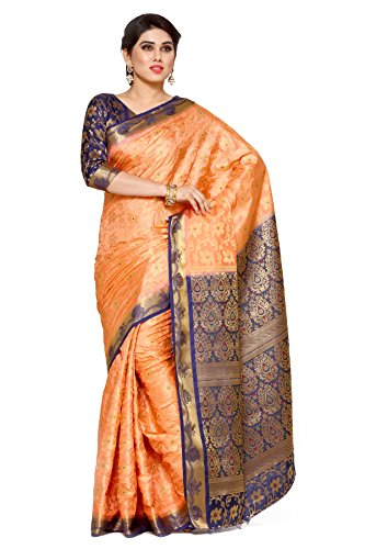 Mimosa Women's Silk Saree With Blouse Piece (4119-172-2D-Pch-Nvy_Orange)