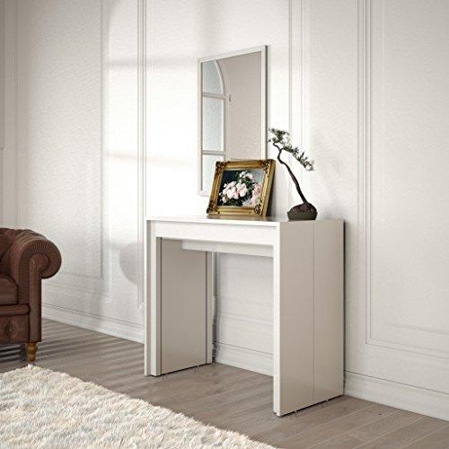 Group design tavolo consolle allungabile made in italy arcobaleno bianco opaco moderna 14 posti 90 cm