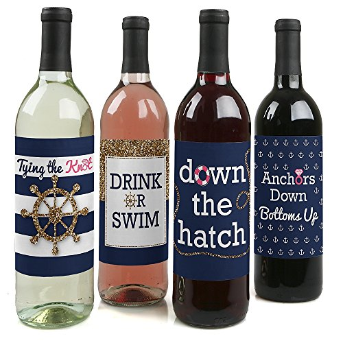 Letzte Sail vor der Schleier, Nautical Bridal Dusche & uns Wein Flasche Etiketten-Set von 4