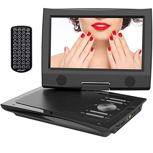 """ieGeek 11.4"""" Tragbarer DVD-Player mit 9"""" Schwenkbildschirm, 5 Stunden Akku Drehbarem Display, AV Out/IN, SD-Karte, USB (Black)"""