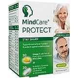 MindCare PROTECT, gardez l'esprit vif - supplément pour stimuler le cerveau et la mémoire - huile de poisson sauvage oméga-3 haute puissance, N-acétyl L-cystéine, acide alpha-lipoïque, resvératrol et multivitamines pour soutenir le cerveau et la fonction cognitive chez les adultes âgés de plus de 45 ans, 60 capsules