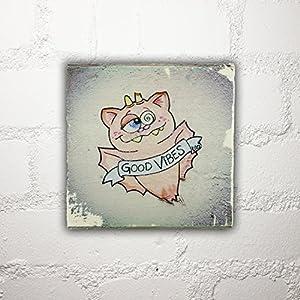 Hamburg auf Holz - *Good Vibes* - 10x10 cm - Holzbild, Wandbild, Landhausstil, Shabby Chic, Vintage, Bilder, Motive, Hamburg, Geschenkidee, Souvenir, Deko
