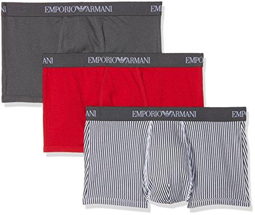 Emporio Armani Underwear Herren Hipster 1116258P722, 3er Pack, Mehrfarbig (Antr/Ant.St/Tang.Red 19844), Medium - Emporio Armani Baumwolle Unterwäsche