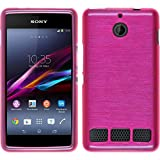 PhoneNatic Case kompatibel mit Sony Xperia E1 - pink Silikon Hülle Brushed + 2 Schutzfolien