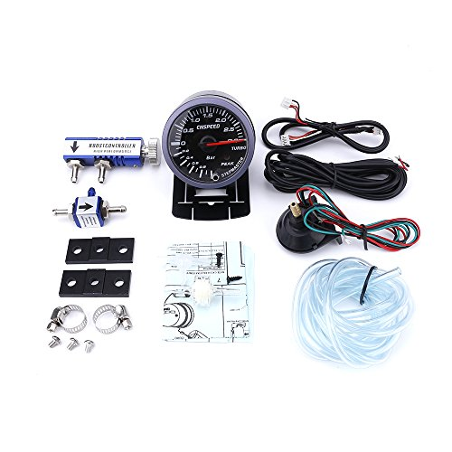 CNSPEED 60MM Car Turbo Boost Gauge 3Bar + Adjustable Turbo Boost Controller  Kit 1-30PSI IN-CABIN Car Meter (with blue Controller)