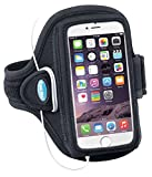 Armband for iPhone 8 7 6s 6 (NOT PLUS) - Fits with NO CASE - Also for iPhone 5 5s 5c SE with OtterBox Commuter - for Running, Sports & Workouts - Sweat Resistant [Black]