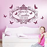 Wandora W1321 Wandtattoo Princess lebt Hier + Wunschname und Schmetterlinge braun (BxH) 83 x 58 cm