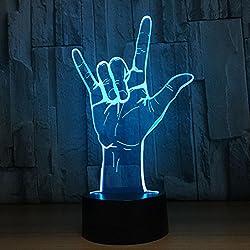 GZXCPC Rock Luz óptica de la noche de la ilusión óptica 3D, Hola-azul Lámpara cambiante de la mesa de escritorio de la tabla del tacto de 7 colores Lámpara decorativa con la placa de acrílico y la base del A