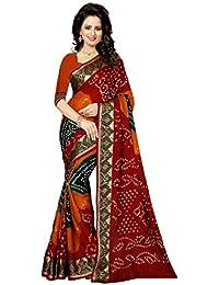 Shonaya Women's Bhagalpuri Silk Ikkat Printed Saree(Red_Free Size)