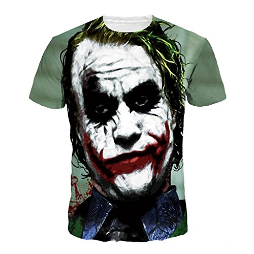 Jiayiqi Herren 3D Kreative Kurzarm T-Shirts Graffiti Hip Hop Stil T-Shirts Zombie