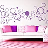 Wall decal Deco Circles Polka Dots Bubbles 61 pieces in different sizes / 49 Colours/ Wall Sticker for imaginative arrangements / turquoise blue (29)