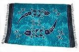 Paréo hANDPaINTING, divers motifs, paréo orientale ornée fine-jupe de plage bleu tonalités