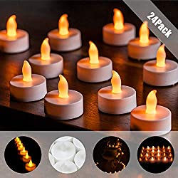 LED Kerzen,Huttoly 24 LED Flammenlose Kerzen Weihnachten LED Teelichter,LED Realistisch Flackernde inkl.Batterien CR2032,Flackerndem Licht für Halloween,Weihnachten,Ostern,Party,Bar, Hochzeit
