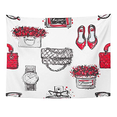 AOCCK Wandteppiche Wall Hanging Graphic Sketch Shoes Fashionable Clutch Handbag Wrist Watch French Perfume Flower 60