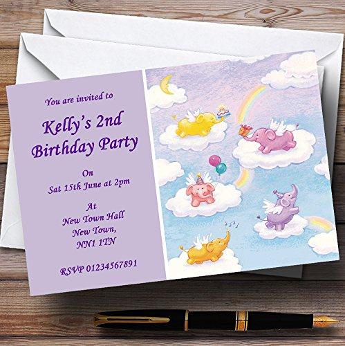 Elefantes bebé pijamas de los niños personalizado invitaciones de fiesta