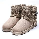Summer Mae Damen Winterstiefel Gefüttert Warm Boots  Strick, Gr.-EU 36--Asia Size 37,Beige