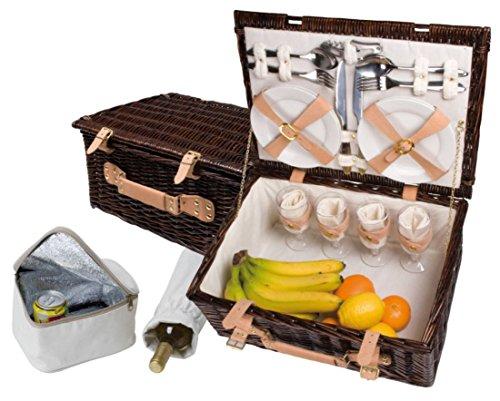 Großes Luxus-Picknickkorb-Set für 4 Personen - Inkl. Fleecedecke mit Namen - Mit individuellem Stick von sinsey