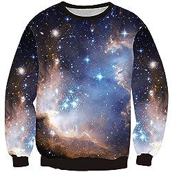 JTC Women's Flower Printed Galaxy Long Sleeve Round Neck T-Shirt Tops Sweatshirts