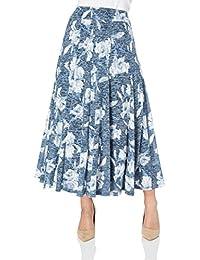 Roman Originals Womens Grey Floral Print Summer Stretch Elasticated Maxi Wrap Skirt Ladies - Blue