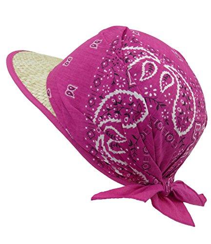 EveryHead Fiebig Mädchenstrohkappe Strohkappe Strohhut Sommerhut Sonnenhut Markenhut Schirmmütze Urlaubshut mit Paisleytuch für Kinder (FI-69774-S18-MA3-10-58) in Pink, Größe 58 inkl ()