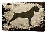 Blechschild Hunde Deko Boxer Schwarz Weiß Metall Deko Wand Schild 20X30 cm