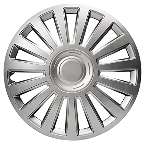 XtremeAuto® 14'' VW Style Silver Car Wheel Trim Hub Cap Covers Multi-Spoke - Includes Valve Caps and CableTies