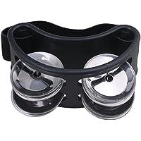 Yibuy 10x 4x 4cm en métal en nylon Pied Percussion Tambourin avec grelots en acier accessoire de campagne noir