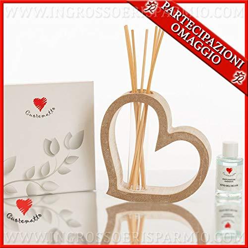 Ingrosso e risparmio cuorematto - profuma ambienti in legno a forma di cuore, in due dimensioni, bomboniere solidali moderne matrimonio, con scatola regalo inclusa (grande-con confezione bianca)