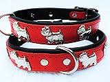 Lusy011 *WESTIE* Hunde Halsband, LEDER, Halsumfang 27-32cm, ROT, (PL.19-9-3-08)
