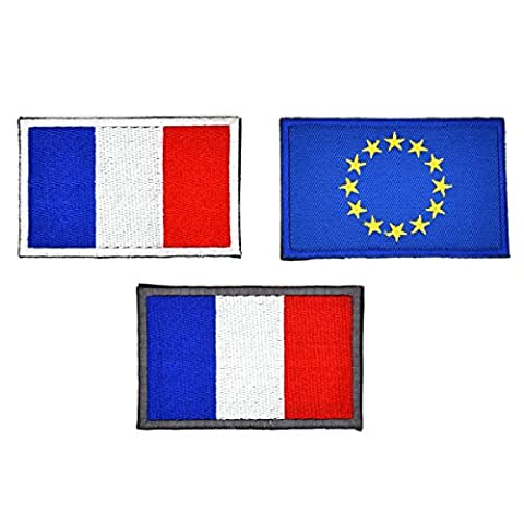 Chileeany Lot de 3 Patch ecusson brodé drapeau france français/ Union européenne UE(velcro),8.0 x 5.0cm