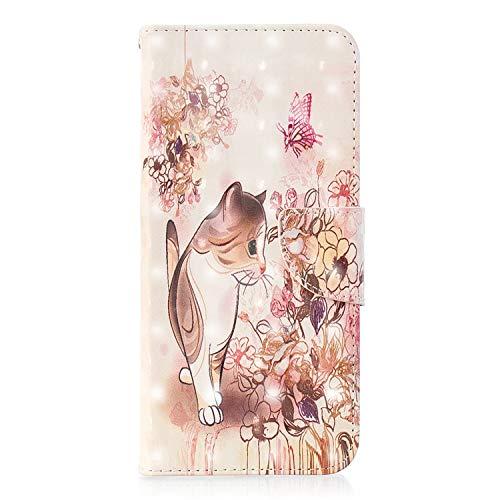 ZCXG Kompatibel mit Samsung Galaxy A6 Plus 2018 Hülle, Tier-Muster, Leder, Flip Standfunktion, stoßfest, schlankes Design, Kartenschlitz, Magnetverschluss, Transparent #Cat Flower Pink