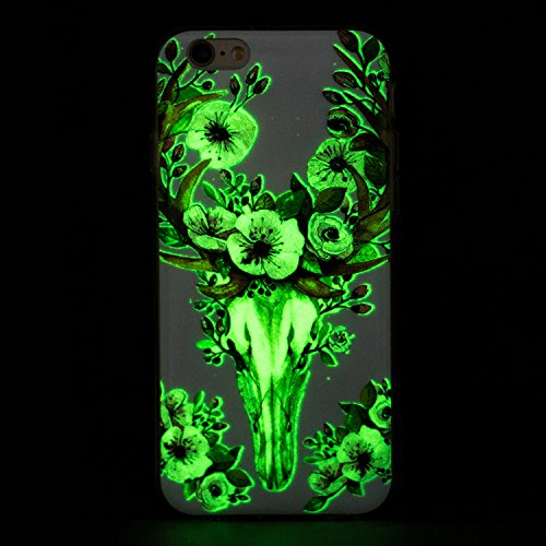 iPhone 6/6S Plus 5.5 Inch Silicone Case,iPhone 6/6S Plus Gel Case,Feeltech [Free 2 in 1 Black Stylus Pen] Luminous Effect Noctilucent Green Glow in the Dark Matte White Ultra Slim Soft Rubber Shock Ab fiore Deer