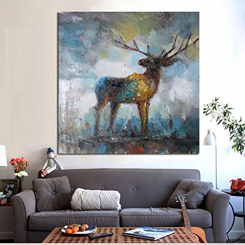 TTKX@ Watercolor Artistic Abstract Painting on Canvas Animal Pop Art Modern Decor Wall Picture for Living Room,100X100Cm (Abstract-sammlung)