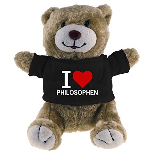 Multifanshop Kuscheltier Bär Classic I Love Philosophen beige - Lustig Witzig Sprüche Party Stofftier Püschtier