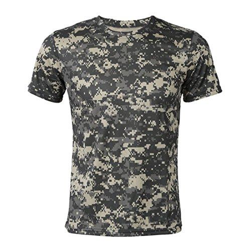 Cikuso Nuevo Camiseta camuflaje de caza al aire libre Camiseta del combate tactico del ejercito transpirable de hombre Camiseta de campamento camo de deporte seco militar Verde ACU XL