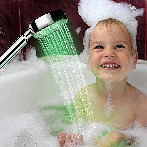 Befied Duschbrause Handbrause Brausekopf wassersparend Chrom Glänzend mit 7 Farben