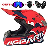 Yedina Youth Motocross Helmet MX Motorcycle ATV Roller voll Helmet Helmet D.O.T Certified Black Goggles Handschuhe Maske (S, M, L, XL),L