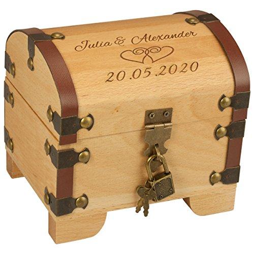 Scrigno del tesoro per matrimonio, con incisione–2nomi, 1 data, 2cuori– Per raccogliere soldi come regalo di matrimonio–regalo di nozze personalizzabile per coppie di sposi