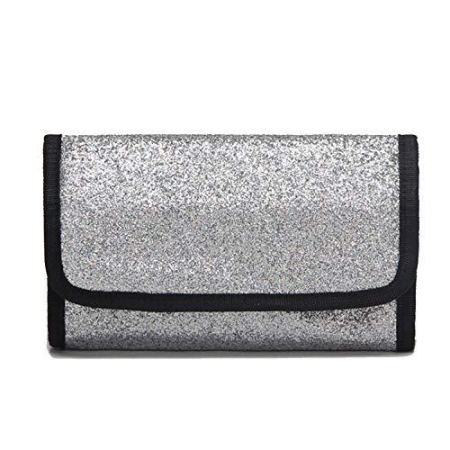 Modische Make-up-Taschen, wasserdicht, faltbar, für Reisen, Kulturbeutel, Kosmetiktasche für Frauen silber silber