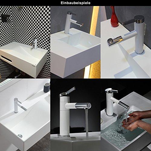 Homelody – Elegante Einhebel-Waschtischarmatur, ohne Ablauf, 2-facher Schwenkauslauf 360°, Weiß-Chrom - 7
