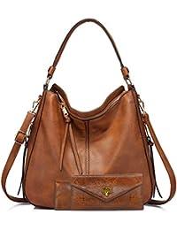 BestoU Handtasche Damen Schwarz Gross Leder Groß Tasche Umhängetasche Schultertasche Shopper Henkeltasche Damen Set Inklusive Brieftasche und Kartenpaket